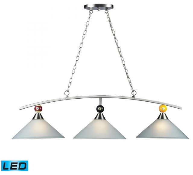 Three Light Satin Nickel Pool Table Light