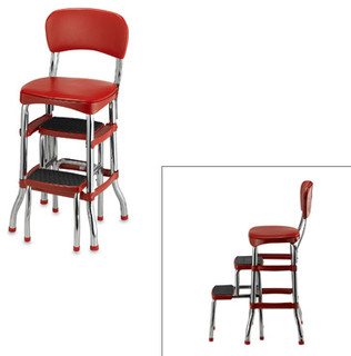 Cosco Retro Chair Step Stool Red Modern Ladders And