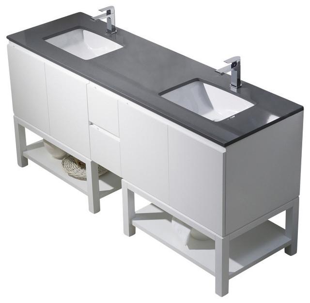 Emmet 72 Double Vanity Espresso White Sink White Quartz
