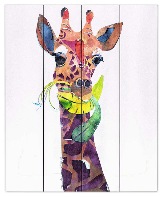 Dianoche Wood Plank Wall Art By Marley Ungaro Giraffe
