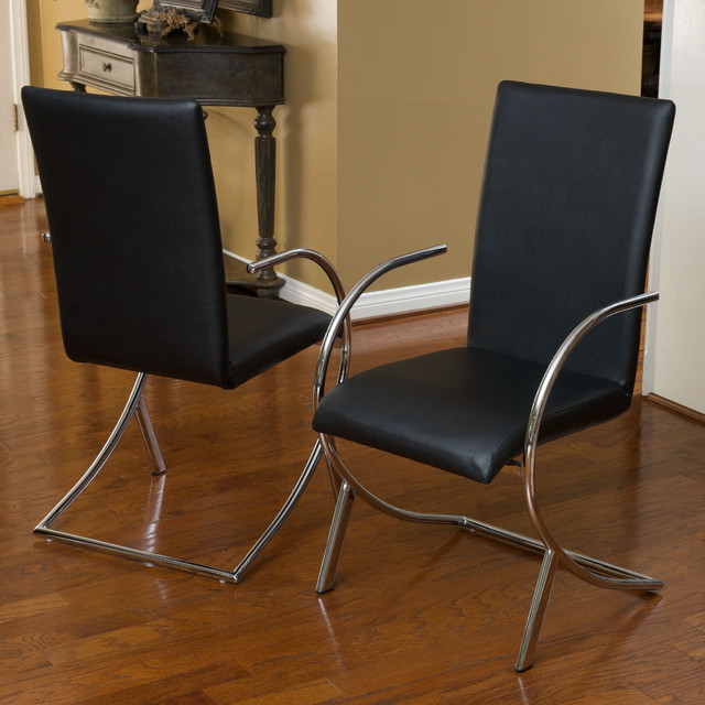 Christopher Knight Home Lydia Black Leather Chrome Chairs Set Of 2 Conte