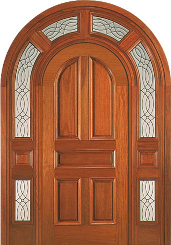 Round top door mahogany prehung entry system with wrap around transom traditional front for Exterior door with round window