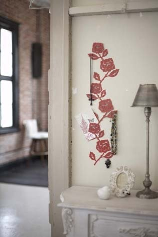 red metal rose wall hanger for photos and accessories modern home decor contemporary home