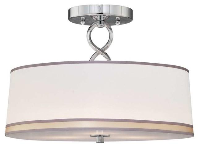 Forte Lighting 3 Light Semi Flush Mount In Chrome Contemporary Flush Moun