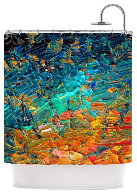 Ebi Emporium Eternal Tide II Teal Orange Shower Curtain Contemp