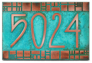The Batchelder Tile Address Plaque, Copper Verdi