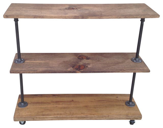 Industrial Rolling 3-Shelf Storage Rack - Industrial - Bathroom Cabinets And Shelves - by Edna ...