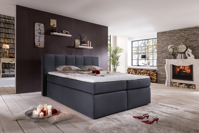 amerikanisches boxspringbett in anthrazit modern betten other metro von m belfreude. Black Bedroom Furniture Sets. Home Design Ideas