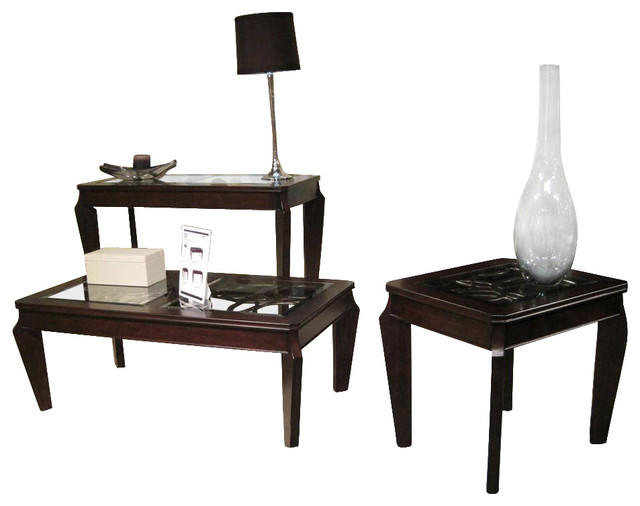 Ombrio 3 Pc Occasional Table Set Contemporary Coffee