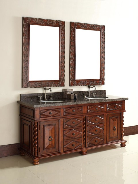 72 continental double sink vanity mediterranean bathroom vanities and sink consoles san for Bathroom vanities san diego