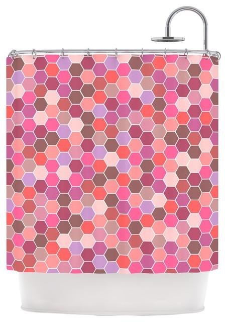 nandita singh blush tiled pink shower curtain