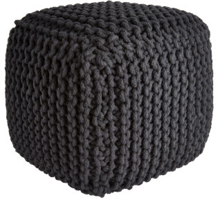 Knot pouf carr anthracite moderne repose pieds pouf for Cube miroir habitat