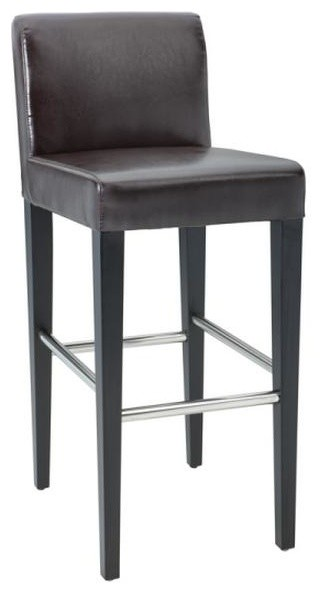 lower back leather stool brown bar height contemporary