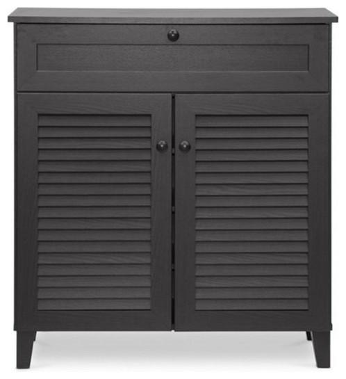 Calvin 4-Shelf Shoe Storage Cabinet, Espresso - Transitional - Shoe ...