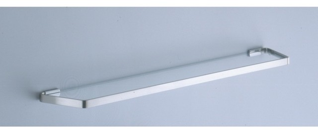 24 Inch Frosted Glass Bath Shelf With Satin Nickel Wall