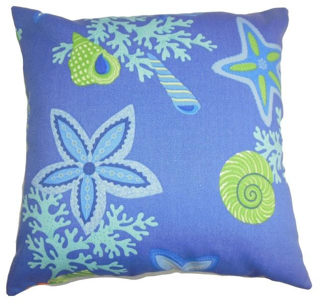 Coastal Inspired Throw Pillows : Jaleh Coastal Pillow Blue Green - Beach Style - Decorative Pillows - by The Pillow Collection Inc.