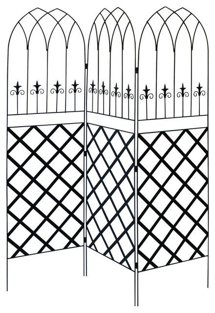 6 39 high 3 panel black metal lattice screen garden trellis for Metal garden dividers