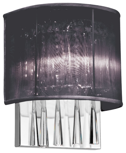Wall Sconces With Half Shades : Josephine Halogen Wall Sconce with a Modern Black Half Drum Fabric Shade - Modern - Wall Sconces ...