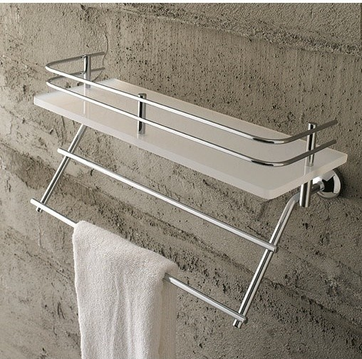 Frosted Glass 16 Inch Bath Bathroom Shelf With Railing And Towel Bar Contemporary Bathroom