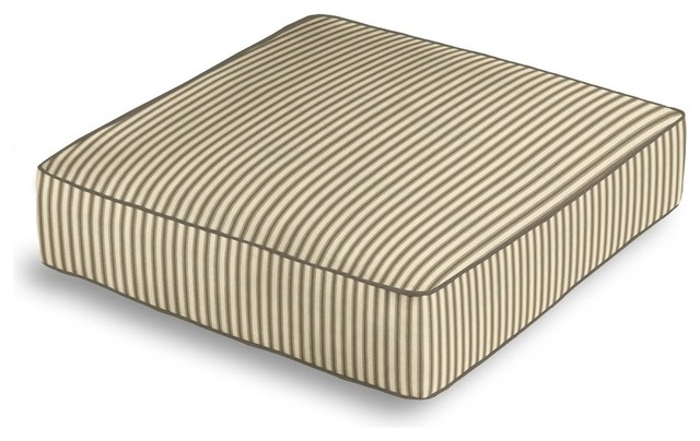 Floor Box Pillows : Taupe Ticking Stripe Box Floor Pillow - Traditional - Decorative Pillows - by Loom Decor