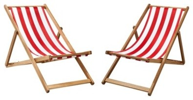 Cabana Wood Patio Chair Set Red White Striped