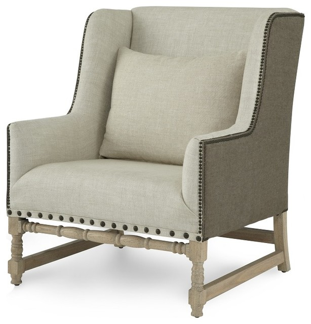 Long Beach Collection Rolled Arm Chair Beige Linen Finish