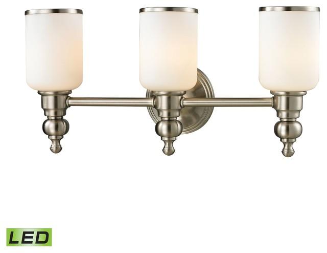 Contemporary Brushed Nickel Vanity Lights : Bristol LED 3-Light Bath in Brushed Nickel - Contemporary - Bathroom Vanity Lighting - by ...