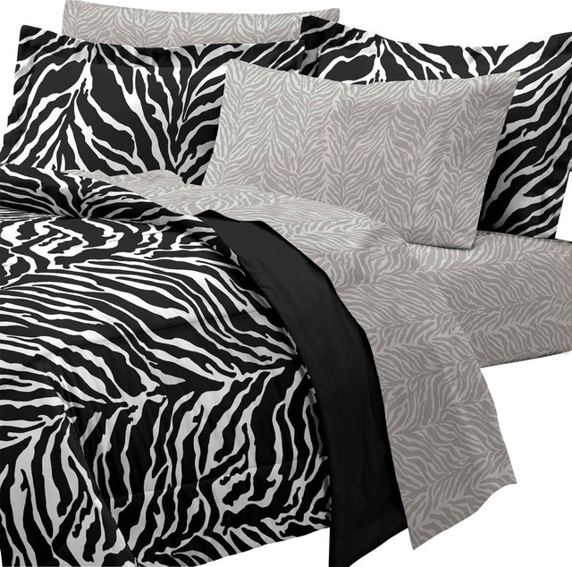 Zebra print 7 piece queen bedding set contemporain - Linge de lit contemporain ...