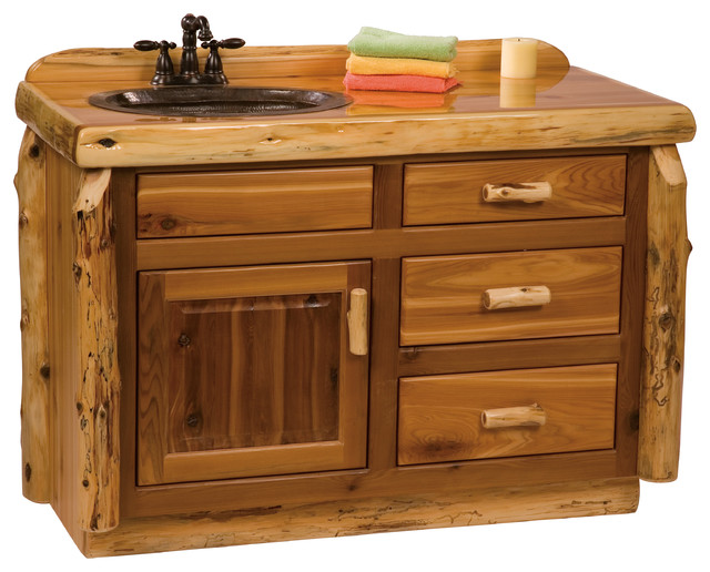 Cedar Vanity Without Top Sink Center 4 39 Rustic Bathroom Vanities And Sink Consoles By