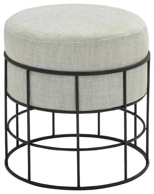 metal outdoor fabric stool black and light gray