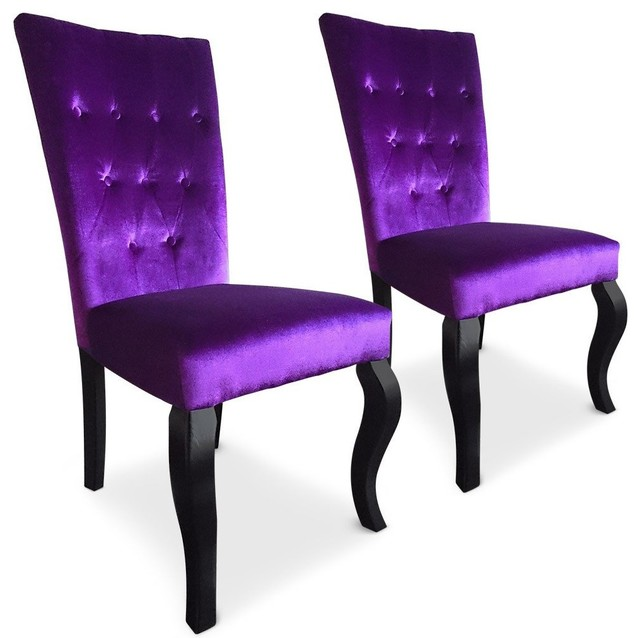 Lot de 2 chaises trice en velours violet r tro chaise for Chaise de salle a manger retro