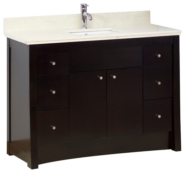 Transitional Birch Vanity Base Only In Antique Walnut 47 X18 Transitional Bathroom