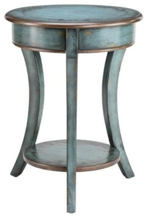 round distressed end table 1