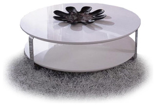 Modern White Lacquer Round Coffee Table Ono Modern