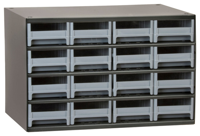 Storage Cabinet, HD Steel, 16 Drawers - Modern - Storage Cabinets - by Akro-Mils