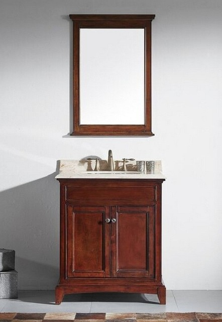 30 Inch Brown Bathroom Vanity Set With White Carrera