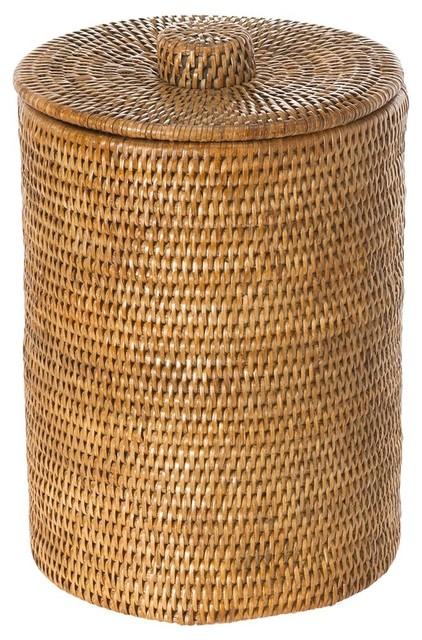 La jolla rattan round waste basket with plastic insert lid honey brown beach style wastebaskets - Rattan waste basket ...