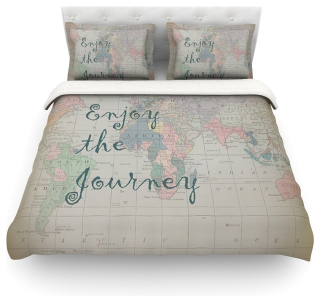Catherine Holcombe Journey World Map Duvet Cover Contemporary