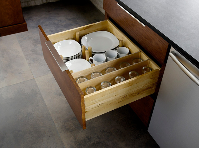 Drawer Plate Storage - Traditional - Kitchen - minneapolis - by Mid Continent Cabinetry