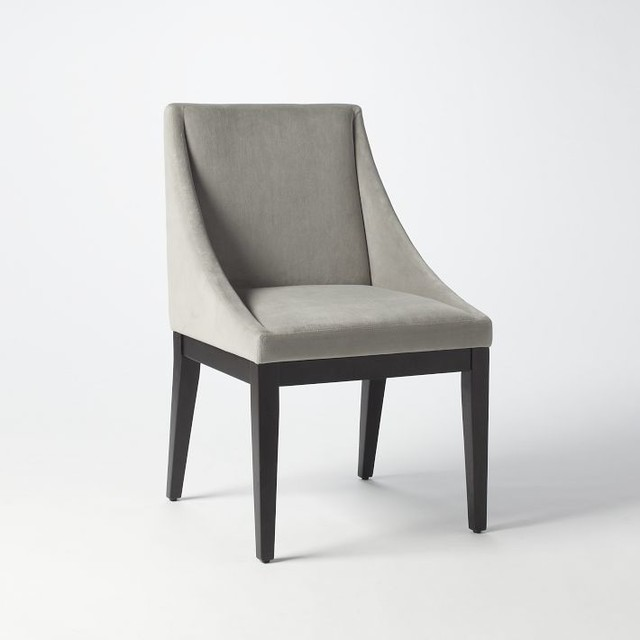 Curved Upholstered Chair, Dove Gray