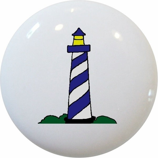 Lighthouse Ceramic Knob - Beach Style - Cabinet And Drawer Knobs - by Carolina Hardware and ...