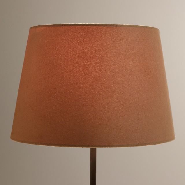 Contemporary Natural Suede Accent Lamp Shade Brown Fabric
