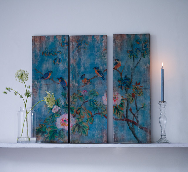 Wall Art Flowers And Birds : Bird and flowers wooden wall panels contemporary mixed