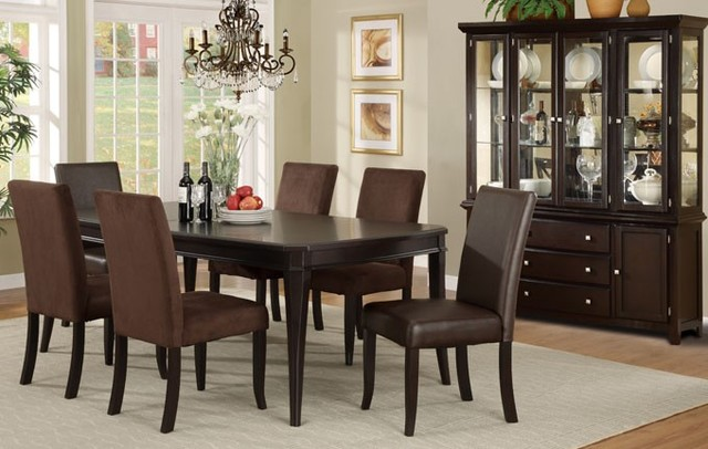 7 pieces dark cherry wood classic formal dining room set