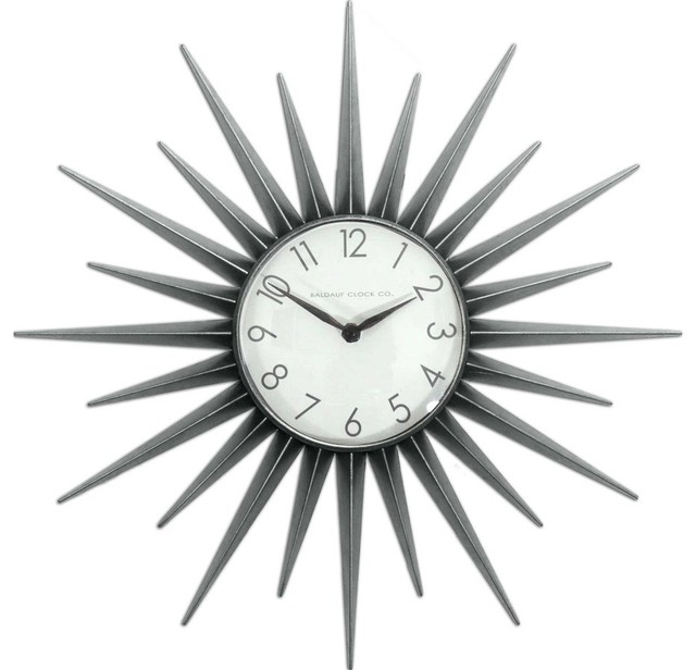Style Selections Starburst Clock, Silver - Modern - Clocks - by Lowe's