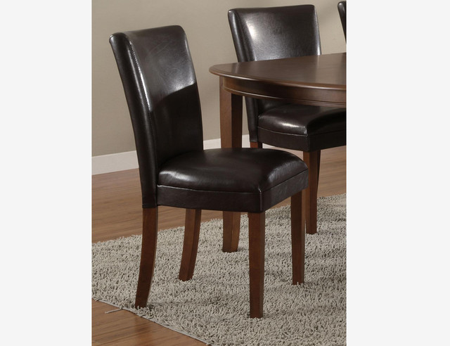 2 pc cherry wood dining parson chairs brown leather seat for Wood dining chairs with leather seats