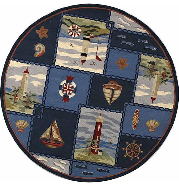 Nautical Blue Rug: Safavieh Hand-hooked Nautical Blue Wool Rug (5'6 Round