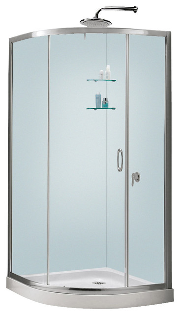 Show Stall Kits Small Bathroom: Solo Frameless Sliding Shower Enclosure, Base And Qwall-4