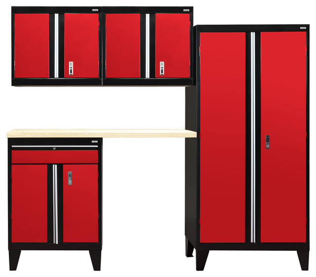 5-Piece Modular Garage Welded Storage System, Black and Red - Modern - Garage And Tool Storage ...