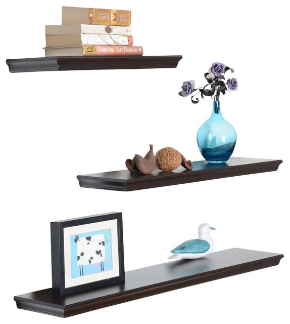 Dover 3 piece display shelves set espresso contemporary for Abanos furniture industries decoration llc